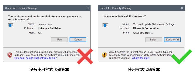 GlobalSign CodeSigning 程式碼簽章安裝與不安裝差別