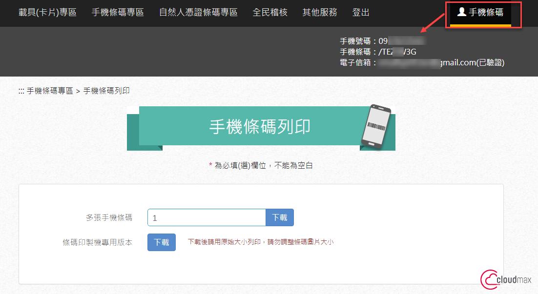 財政部電子發票整合服務平台查詢手機條碼